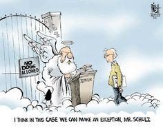 Snoopy & Charles Schulz at the Pearly Gates.