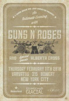 """poster design 24 X 35  """"Guns N' Roses"""" for John Varvatos  © Scarlet Rowe Image & Design #gunsnroses #johnvarvatos # scarletrowe"""