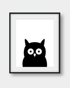 50% OFF Owl Print Black Owl Nursery Print Nursery by aenaondesign