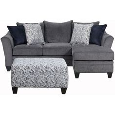 Sectional with a reversible chaise that features flared arms, plush seat cushions covered in a soft woven chenille with a great look and feel. Accented with four toss pillows. City Furniture, Furniture Deals, Living Room Furniture, Office Furniture, Modern Furniture, Sectional Sofa Sale, Chaise Sofa, Gray Sectional, Couches