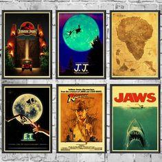 /JAWS/The Termina/Jurassic Park Spielberg Movie Posters Retro Wall Posters Art Printed Painting Wall Stickers Diamond Drawing, 5d Diamond Painting, Canvas Wall Art, Canvas Prints, Art Prints, Jurassic Park, Poster Wall, Wall Stickers, Larger