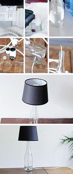 Lámpara reutilizando botella / Via http://www.lanaredstudio.com/