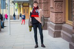The Football Scarf Gets a Russian Street Style Makeover, March 18, 2016  (5 photos)