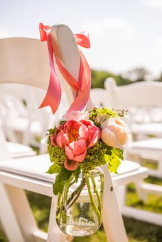Coral Peony in Mason Jar Aisle Decoration | Azalea Floral Design |The Winvian – Litchfield, Connecticut | A Guy + A Girl Photography https://www.theknot.com/marketplace/a-guy-+-a-girl-photography-long-beach-ca-769139