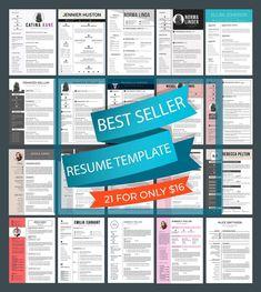 21 Resume bundle Best seller resume template resume image 0 Modern Resume Template, Resume Templates, Ttf Fonts, One Page Resume, Printable Planner, Printable Art, Change Image, Layout, For Facebook