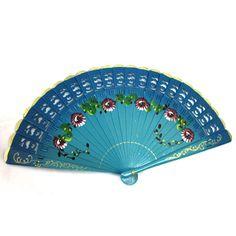 Blue Wooden Panel Fan, Japanese Wooden Fan, Oriental Floral Fan