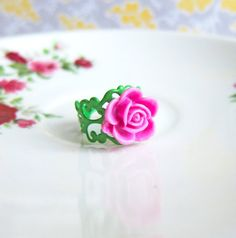 Pink Rose Floral Ring by Jewelsalem, $4.00
