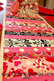 valentine's day quilted table runner