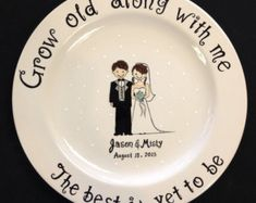 Custom Name Personalized Hand Painted Ceramic Wedding Plate or Anniversary Plate Now i saw this plate on etsy...my fav store for $65...I am going to make this exact plate for my parents anniversary party. ..stay tuned