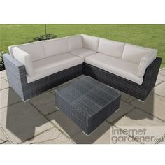Maze Rattan Porto Corner Garden Sofa is a smaller rattan corner sofa, ideal for the small garden.