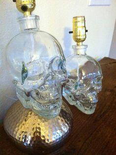 Crystal Skull Vodka Lamp Set.. Love the idea