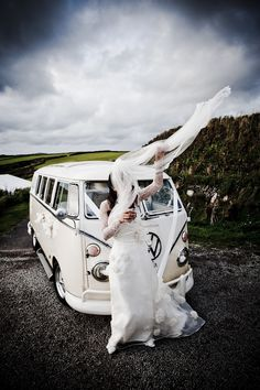 Classic VW van wedding rentals -- would that this were not in Cornwall! :( Um....best wedding picture ever.