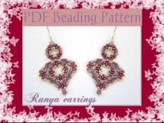 Ranya earrings. The beading pattern is available in ITALIAN & ENGLISH in my Etsy store: https://www.etsy.com/it/listing/185880431/schema-perline-orecchini-ranya-pdf?ref=shop_home_feat_3
