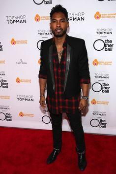 Miguel wears Saint Laurent Chain Lapel Tuxedo Jacket, Flannel Shirt, and Boots | UpscaleHype