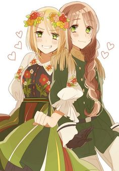 Looks like Poland and Hungary. Poland's wearing a dress and Hungary's wearing guy's clothes.
