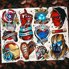 Avengers Endgame flash sheets are finally done, and up on my Etsy! The movie was near perfect and I wanted to make sure I took my time to… Marvel Art, Marvel Dc Comics, Marvel Heroes, Avengers Tattoo, Marvel Tattoos, Spiderman Tattoo, Thor Tattoo, Deadpool Tattoo, Comic Tattoo
