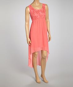 Another great find on #zulily! Coral Lace-Accent Hi-Low Dress by Life and Style Fashions #zulilyfinds