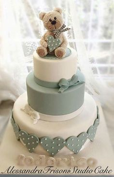 Tiered baby shower cake with bear topper . Tiered baby shower cake with bear topper Fondant Cupcakes, Cupcake Cakes, Beautiful Cakes, Amazing Cakes, Bolo Fack, Gateau Baby Shower, Teddy Bear Cakes, Teddy Bears, Fondant Teddy Bear
