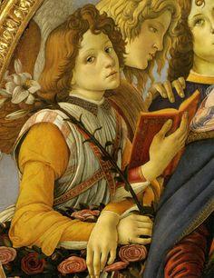 Sandro Botticelli - Madonna della melagrana, dettaglio - tempera su tavola (diametro 143,5 cm) - 1487 - Galleria degli Uffizi a Firenze.