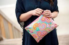 Preppy and adorable, it's the Summer Paisley Monogrammed Accessories and Cosmetics Pouch to hold all of your cosmetic and daily necessities!  This is also a great bag for sunglasses, sunscreen, lotion, and flip flops to take to the pool or beach. www.beaujax.com