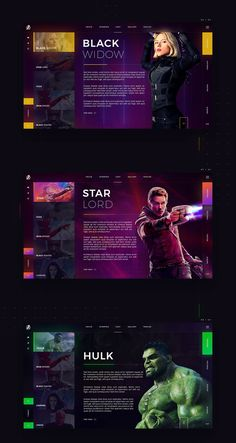 Infinity War on Behance - Mery J Kendy Website Design Inspiration, Website Design Layout, Web Layout, Layout Design, Web Design Mobile, Web Ui Design, Design Design, Star Lord, Maquette Site Web