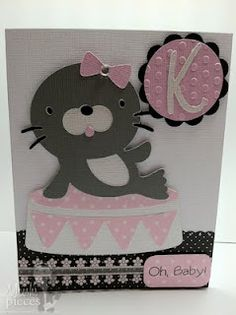 Cricut Baby Girl Card. Create a Critter & Once Upon a Princess Cartridges.  *