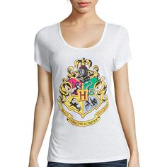 Hogwarts Short-Sleeve Graphic Tee ($13) ❤ liked on Polyvore featuring tops, t-shirts, scoop neck top, graphic print tees, scoop neck tee, graphic t shirts and scoop-neck tees