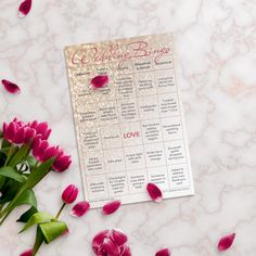 Wedding planning idea: Entertain your guests with Wedding Bingo, the wedding reception bingo game. No need to worry about whether your guests who don't dance are having fun and thinking of leaving early when you have wedding reception games. They'll be completely entertained and paying attention to every detail of your big day while they play Wedding Bingo. This set contains 25 printed cards with gold dot stickers attached for marking the squares. LGBT version for 2 brides…