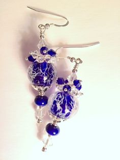 Blue Wispy Lampwork and Sterling Silver Earrings - Hand Crafted, One of a Kind, Ready to Ship, SRAJD