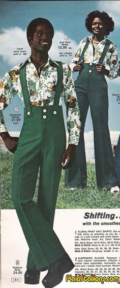 Advertisement for floral-print knit shirts and green suspender slacks for men and women, 1970s.