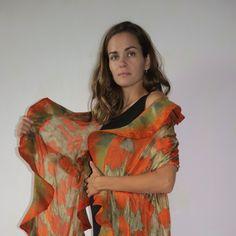 Original felted silk and  wool shawl.