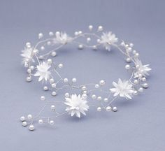 Bridal white floral halo pearl beads hair vine by FloralHeadpiece