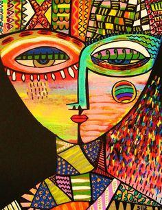 Fine art Giclee print on quality paper. Abstract Portrait, Portrait Art, Abstract Art, Cardboard Sculpture, Art Sculpture, Picasso Cubism, Posca, Gelli Arts, Pastel Art
