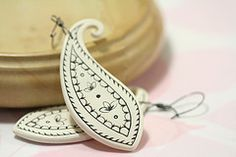 Jumbo Black and White Paisley earrings