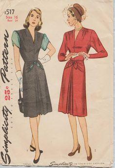 Eenvoud 1517 / Vintage 1940s naaien patroon / kleden / Size 16 buste 34