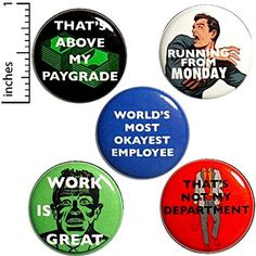 Work Button 5 Pack Sarcastic Humor Funny Pinback Gift Set Backpack Pins That's Above My Paygrade Work Is Great Running From Monday Funny Buttons, Cool Buttons, Work Jokes, Work Humor, Funny Pins, Funny Memes, Funny Quotes, Introvert Humor, Freak Flag