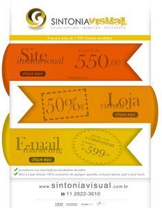 50% de Desconto na Criação de Sites, Lojas Virtuais, Logotipos e Campanhas de Email Mkt! Aproveite, é só esta semana!!!  Acesse: www.sintoniavisual.com.br  #oferta #oportunidade #metadedopreço #lojavirtual #ecommerce #vendaonline #logotipo #logomaca #criacao #criaçãodesite #site #agencia #agenciasite #emailmkt