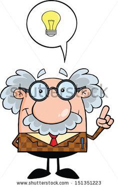 Professor With Good Idea. Raster Illustration