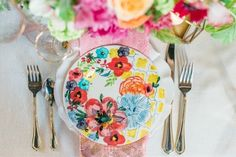 Romantic floral + pink place setting