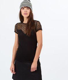 Top empiècement dentelle - Tops, tee-shirts - La collection - Prêt-à-porter