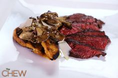 Mario Batali's Hanger Steak w/Hen of the Woods (mushrooms) from The Chew (Harry Connick Jr. raved about this) Entree Recipes, Grilling Recipes, Pork Recipes, Cooking Recipes, Cooking Beef, Yummy Recipes, Dinner Recipes, Hen Of The Woods Recipe, The Chew Tv Show