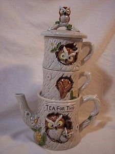 Stackable Teapot And Cup | ... Tea for Two Owl Teapot Set Cups Japan Mr E 9202 1977 Stackable | eBay