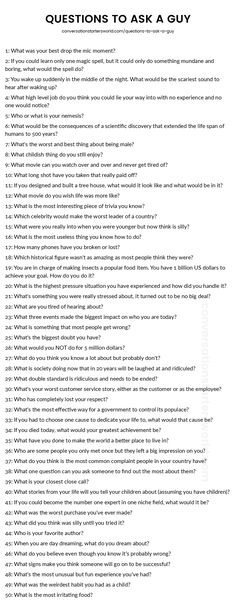 List of questions to ask a guy