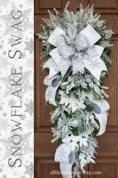 This gorgeous Christmas Wreath will be the perfect addition to your holiday decorations from Christmas all the way through winter. This winter wreath with glittered sprays in silver and white and sparkling snowflakes says look at me! Topped with this gorgeous designer snowflake ribbon, this snowflake wreath is complete.
