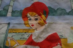 1920s 30s Art Deco Tinted Embroidered Lady Driving Car Pillow Cover.  via Etsy.