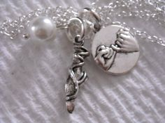 New ~ One - DANCE Ballerina POINTE Shoe with Pearl & PiNKY Promise on 925 Silver chain Necklace by GlamRusJewels on Etsy