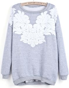 Grey Round Neck Long Sleeve Floral Sweatshirt. Pair it with some black leggings, perfect.