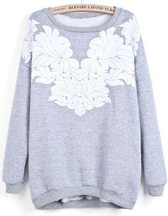 Grey Round Neck Long Sleeve Floral Sweatshirt - Sheinside.com