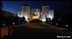The grand driveway leading up to the Château Potelières in the Gard department in the South of France