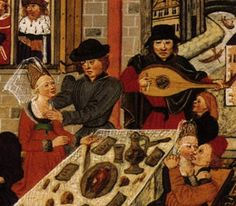 Dancing, singing and lute playing around a feast.